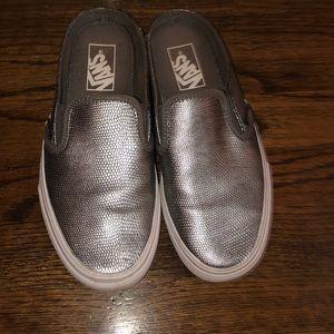 Slip on Vans in Grey Metallic